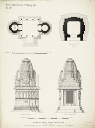 Plans and elevations of small shrines on the margins of the Mana-sarova (tank) at Viramgam